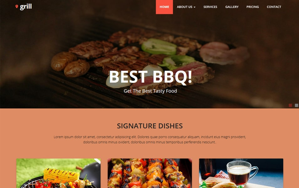 Grill Free Responsive Restaurant Website Template