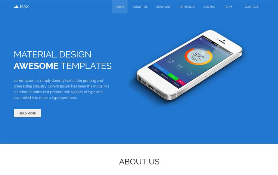 Max Bootstrap Free Material Design Template