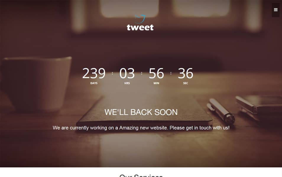 Tweet Coming Soon Material Design Web Template