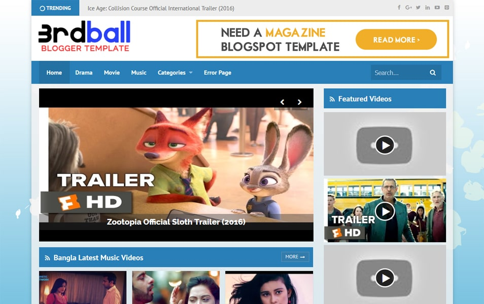 3rdball Professional Video Blogger Template