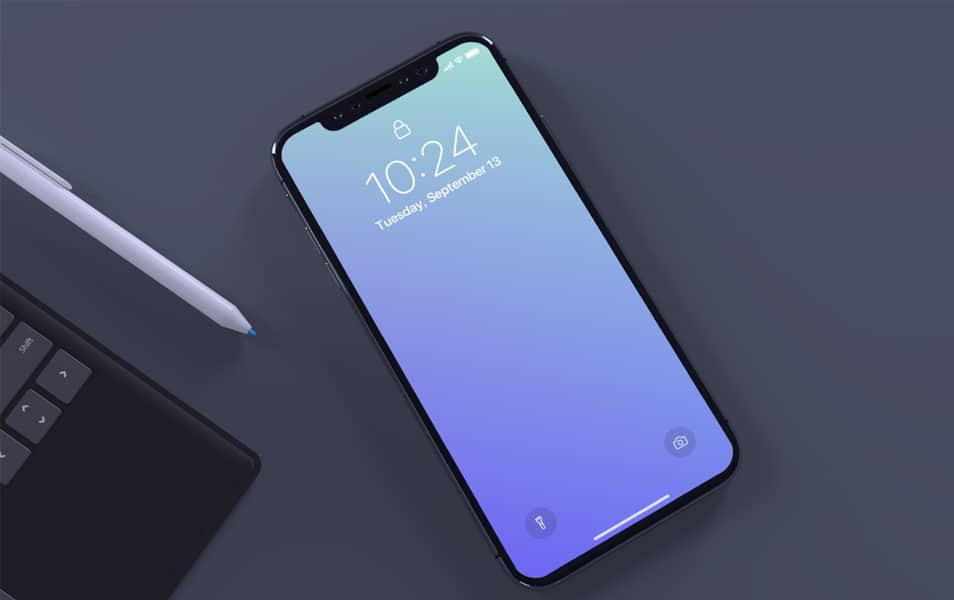 Top view of iPhone X mockup