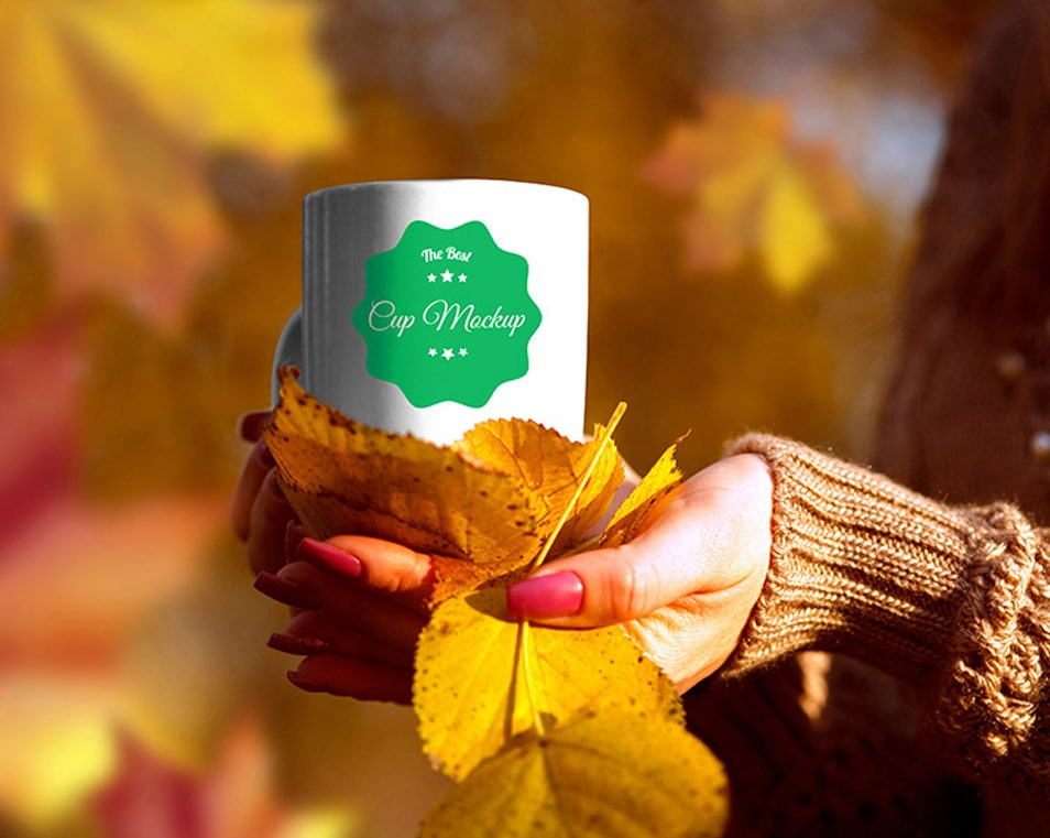 Cup in Autumn Scenery Mockup