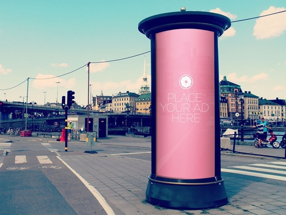 Free Rounded Billboard Totem PSD Mockup