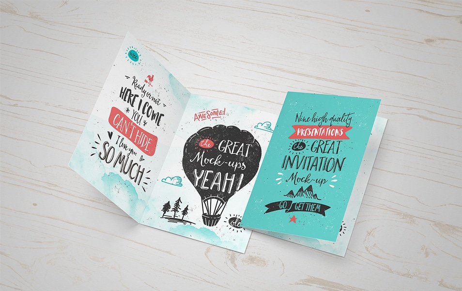 Invitation Greeting Card Mock-Up