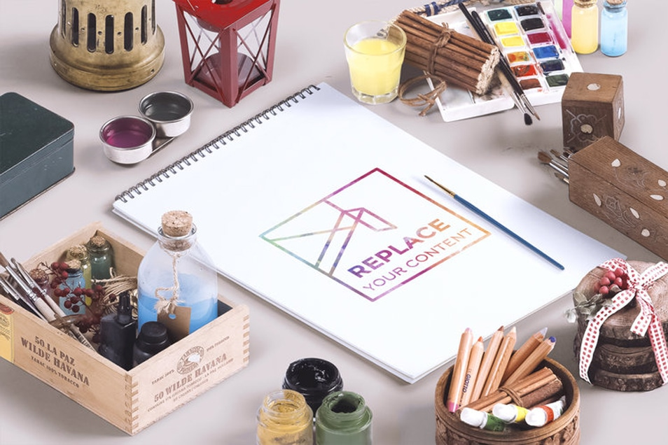 Isometric Art Equipments Mockup
