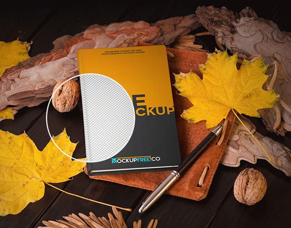 Notebook in Autumn Scenery Mockup