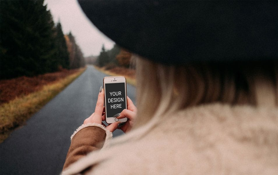 Woman Holding iPhone Mockup