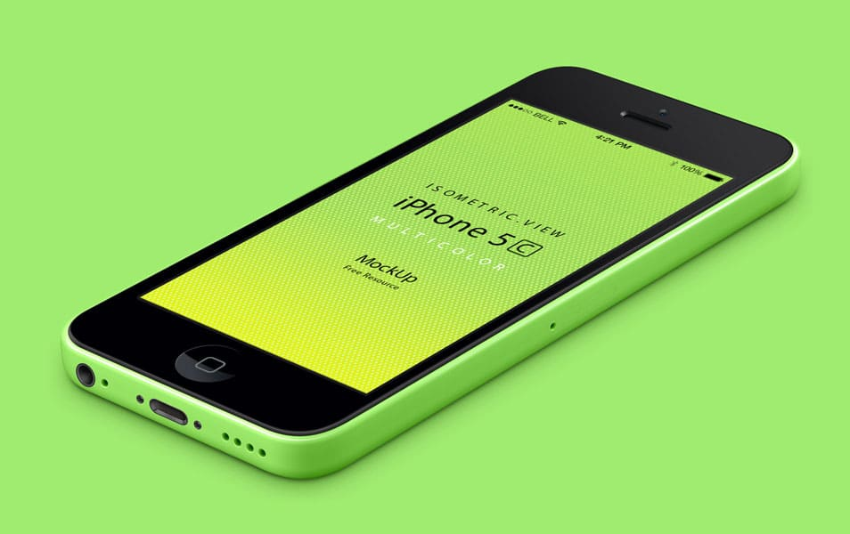 3D View iPhone 5C PSD Vector Mockup » CSS Author