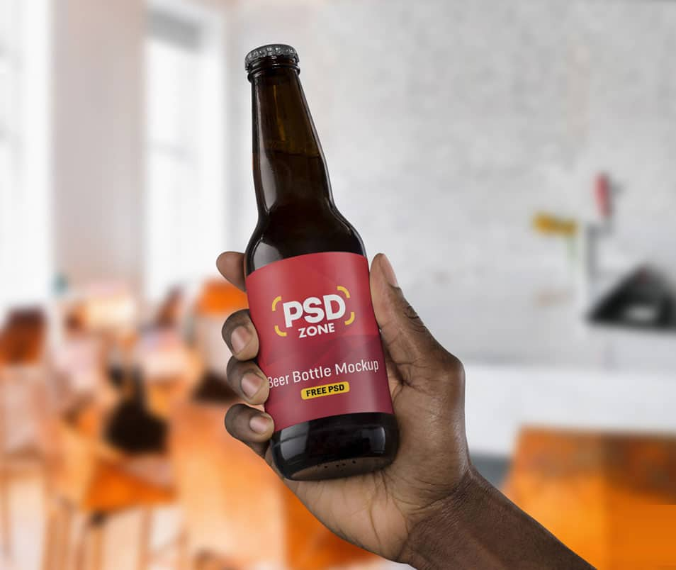 Beer Bottle Label Mockup PSD