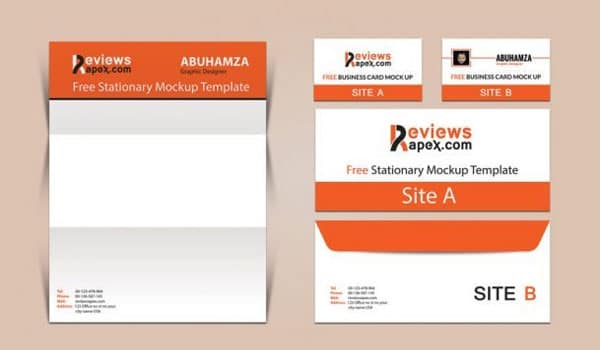 Brand Identity Business Card, Letterhead & Envelope Mockup