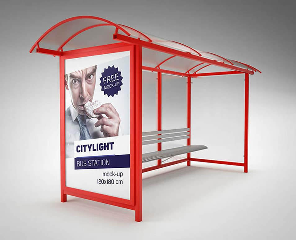 Bus Station Citylight Mockup