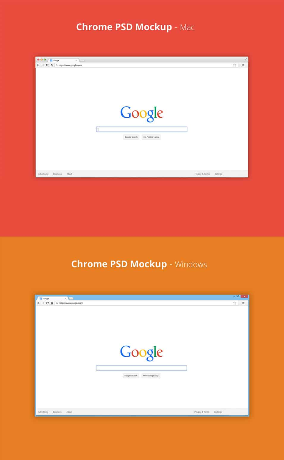 Chrome PSD Mockup – Mac & Windows