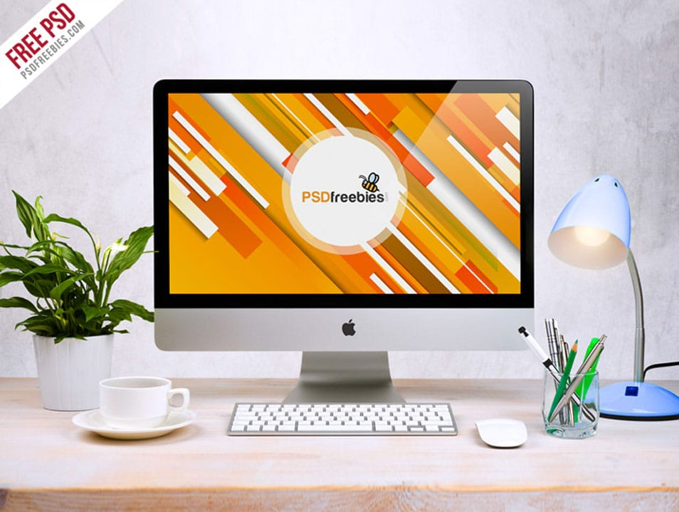 Free Apple iMac Workspace PSD Mockup