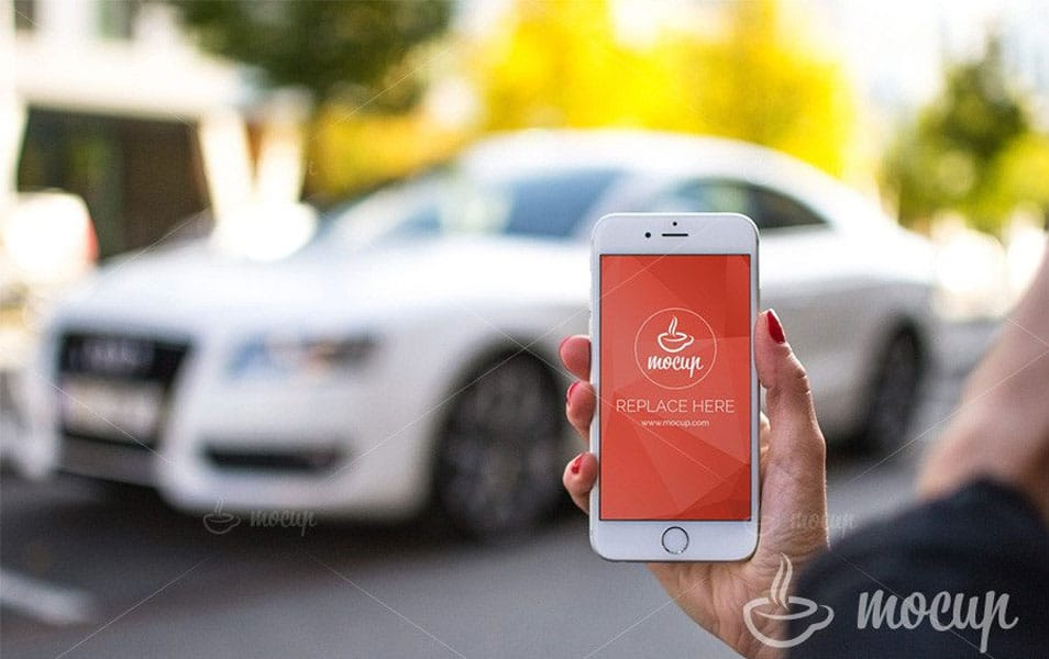 Free Car App iPhone 6 Mockup