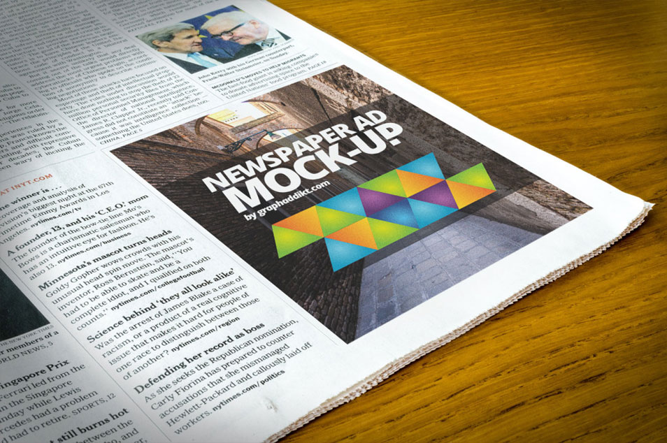Free PSD Newspaper Advert Mock-up