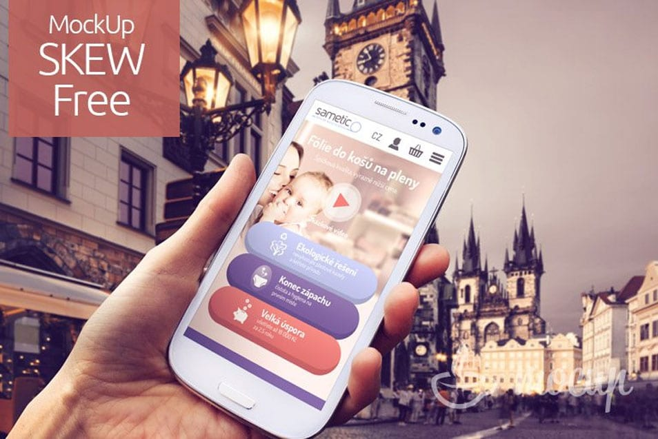Free Samsung Galaxy S3 Mockup in historical city