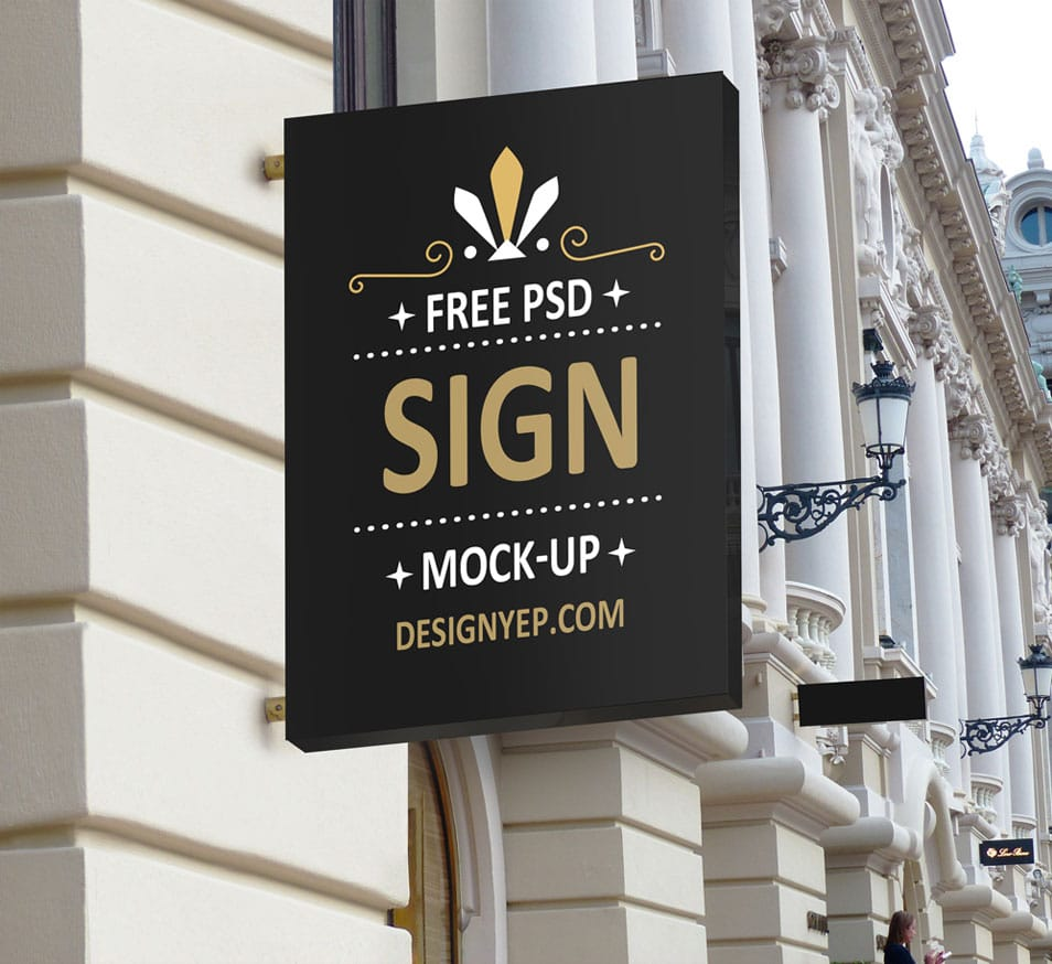 Free Shop Sign Mockup PSD