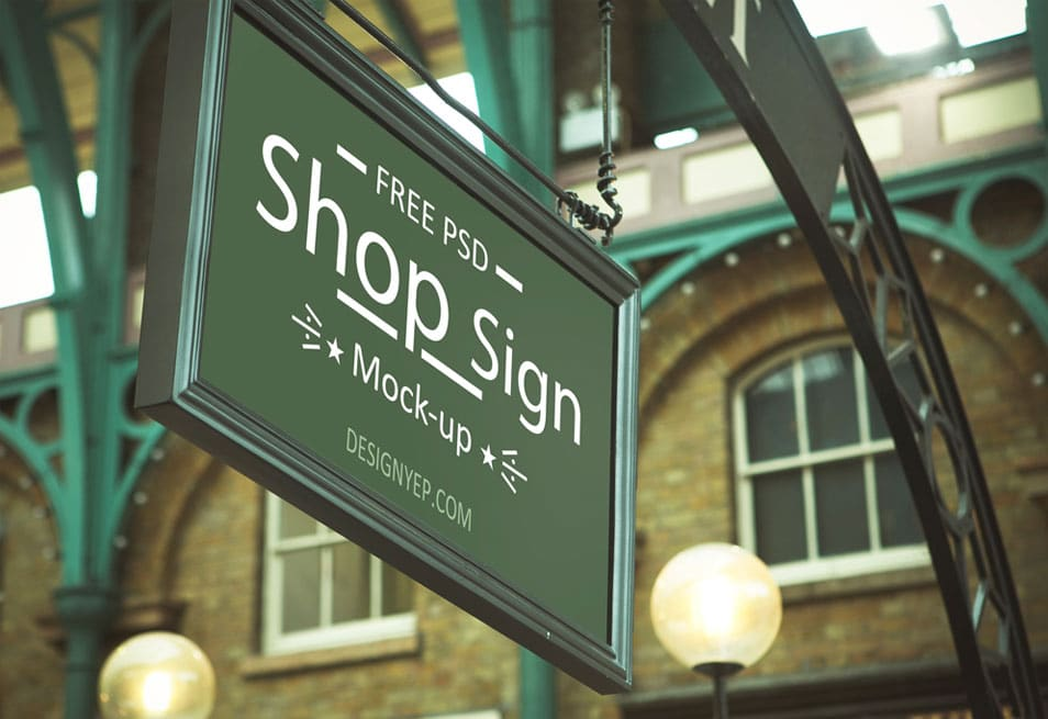 Free Store Sign Mockup PSD