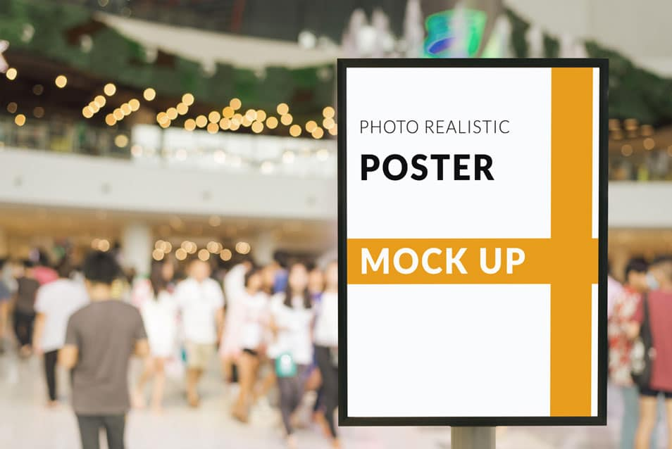 Free Poster Mockups in a Mall