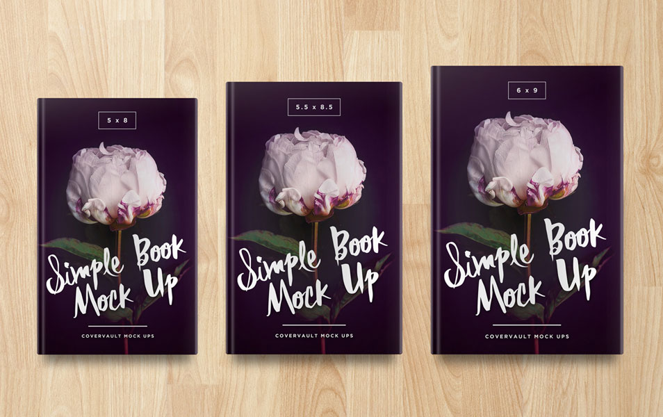 Multiple Sized Hardcover Book PSD Mockup