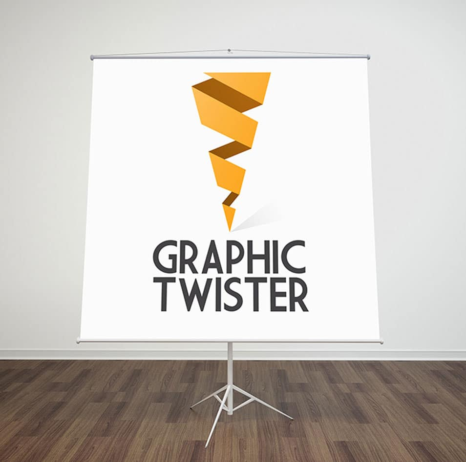 Paper Flip Chart Stand Mockup Front Side