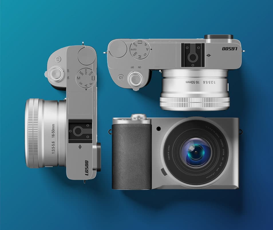 Silver Digital Camera Mockup FREE PSD