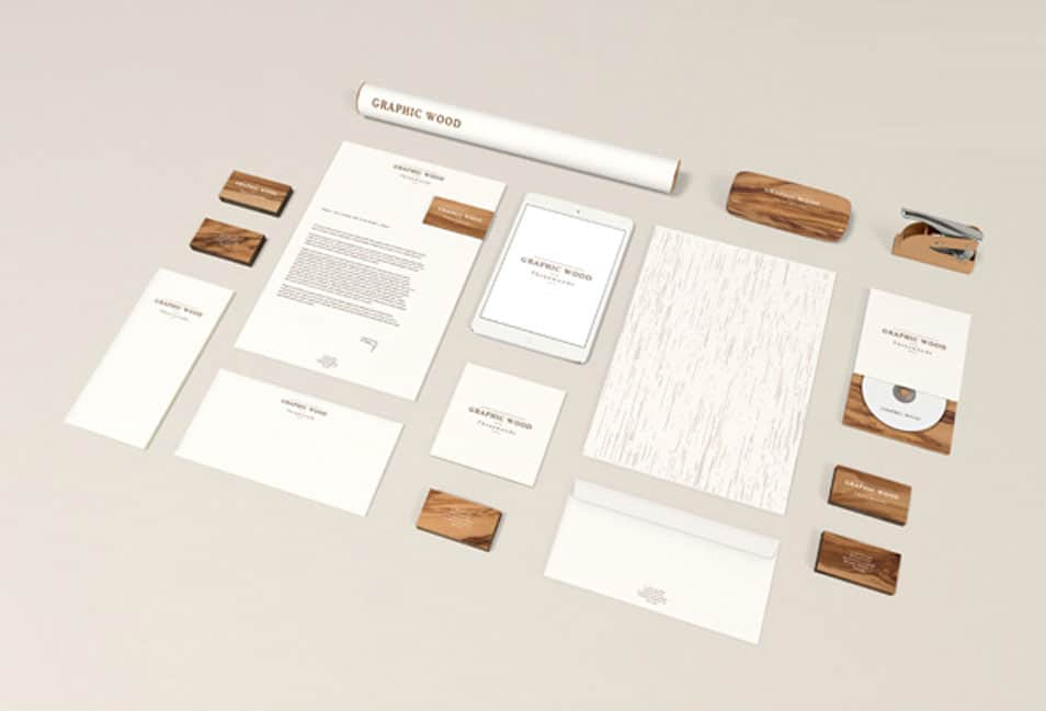 Stationery Wood Edition MockUp