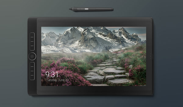 Wacom Tablet with Stylus Free PSD Mockup