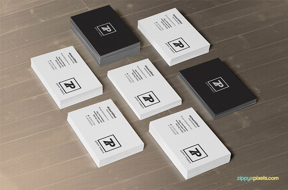 2 Free PSD Business Card Mockups In Stacks