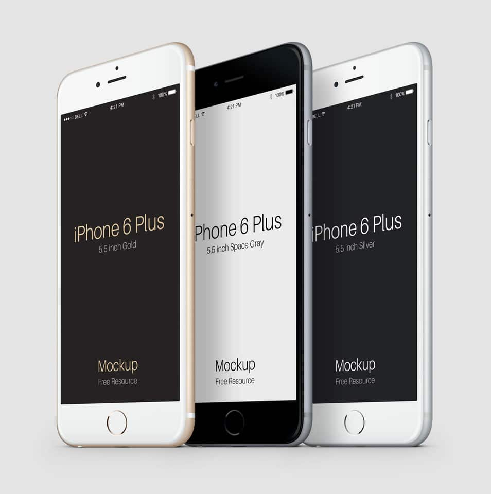 3-4 iPhone 6 Plus PSD Vector Mockup