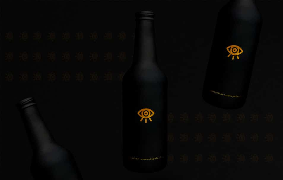 Black Beer Bottle Mockup