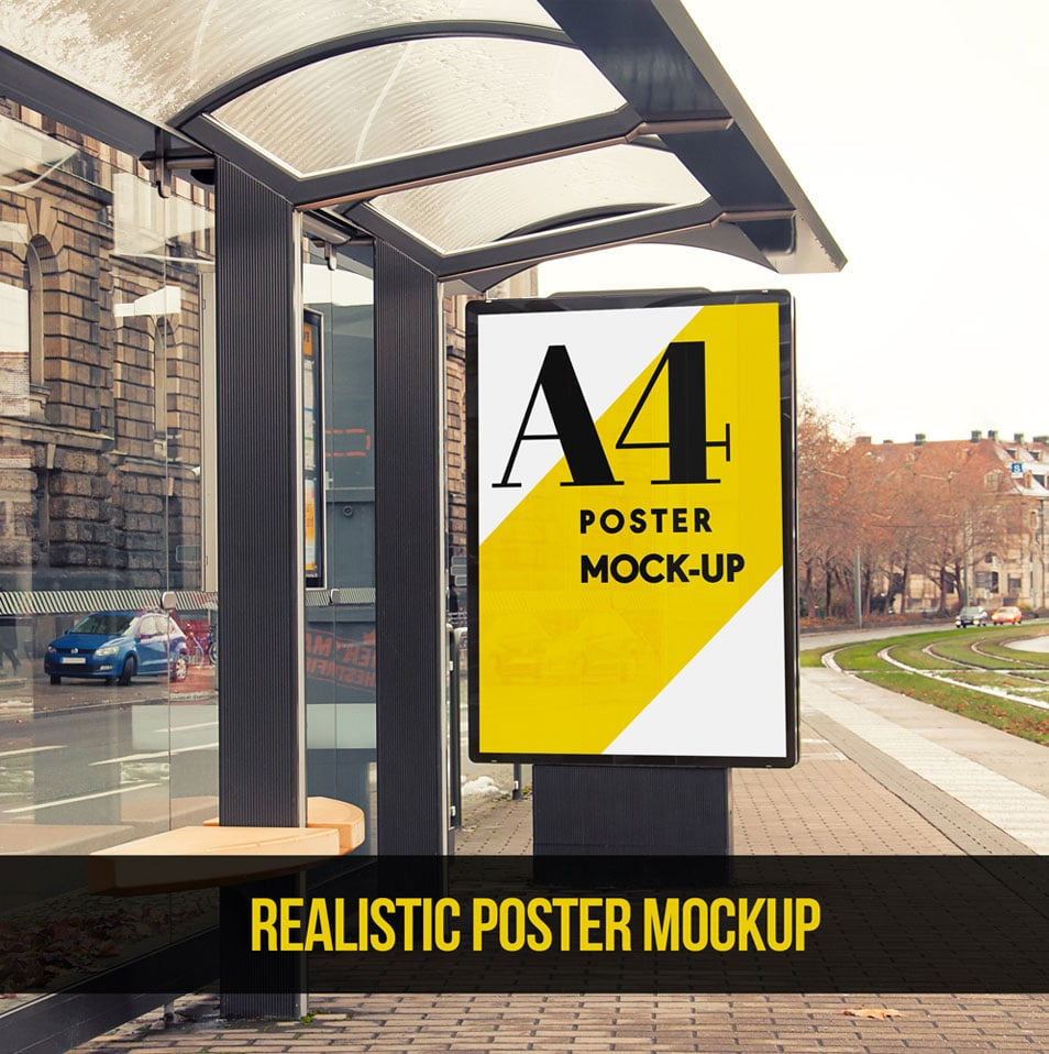 Bus Stop Advertising Area Poster Mockup