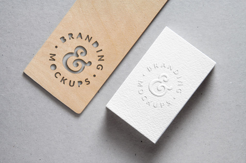 Cutout Wood & Embossed B-Card MockUp