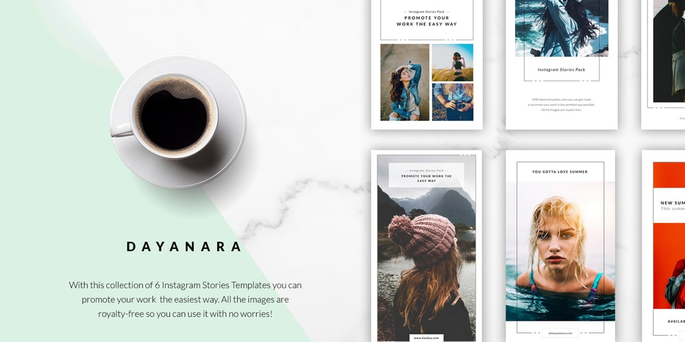 Dayanara Instagram Stories Templates PSD