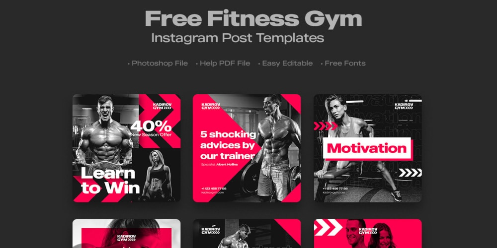 Fitness Gym Instagram Post Templates PSD