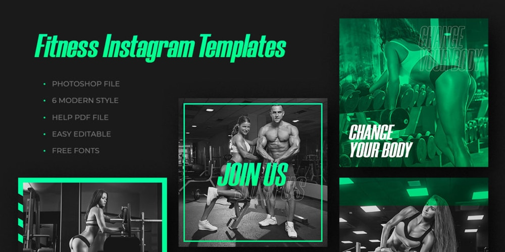 Fitness Gym Social Templates