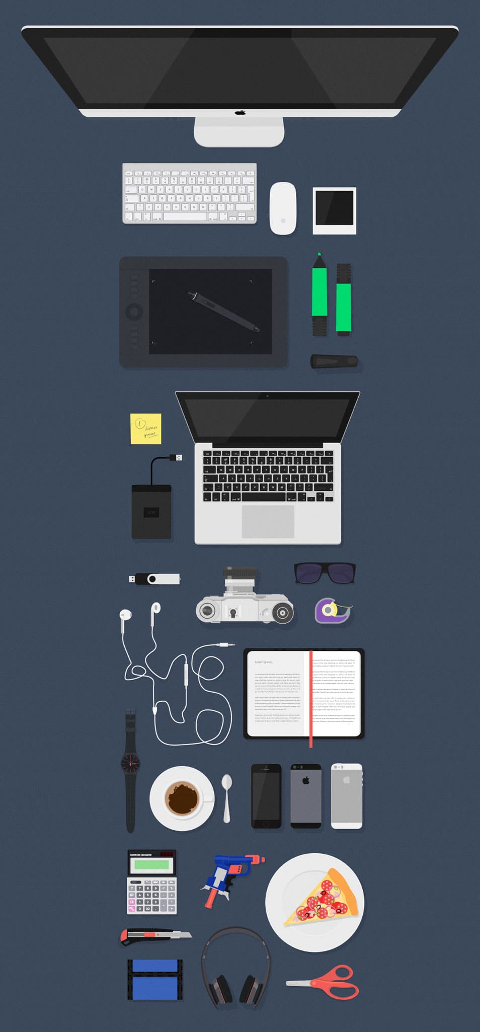 Flat MockUps Desk Items