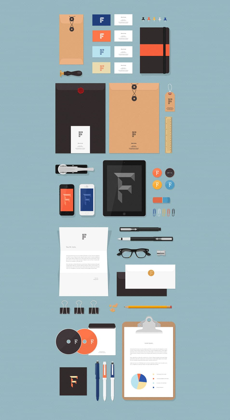 Flat MockUps Stationery Items