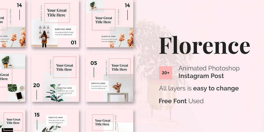 Florence Animated Photoshop Instagram Post Template