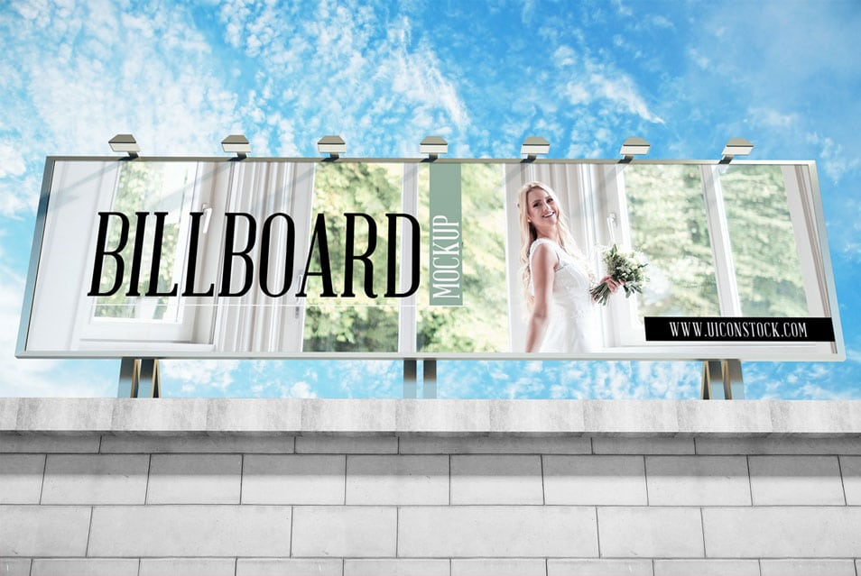 Free Building Top Billboard Mockup PSD