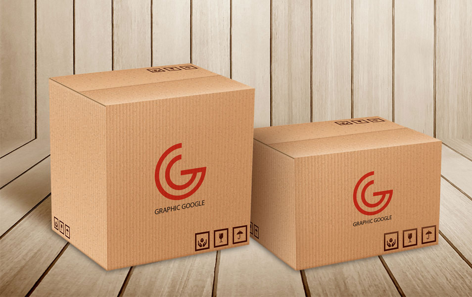 Free Carton Delivery Packaging Box Logo Mockup