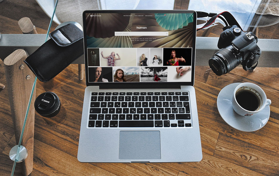 Free Desk and Mac Book Photoshop Mockup