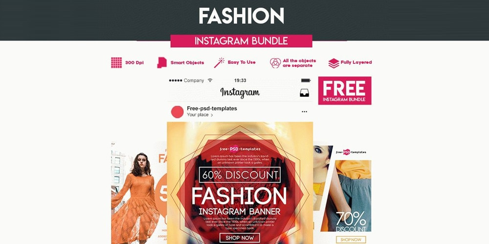 Free Fashion Instagram Banner Templates PSD