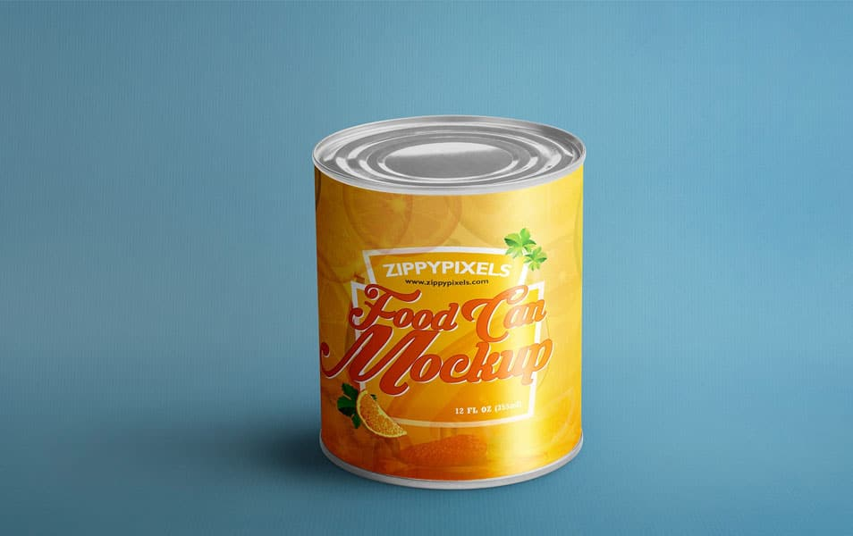Free Food Can Mock-Up For Product Packaging Designs