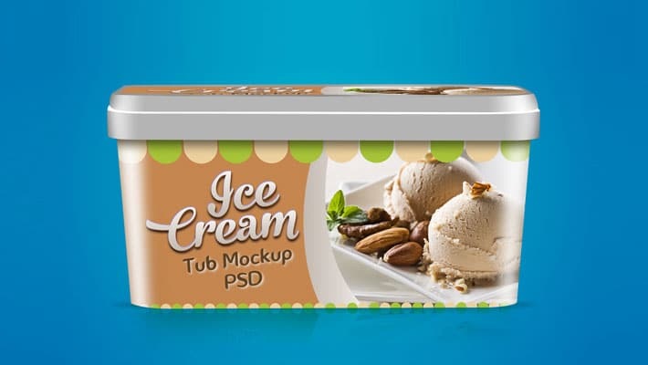 Free Ice Cream Tub Packaging Design Mockup Template