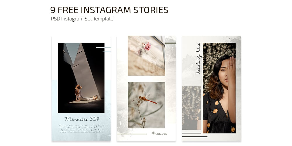 Free Instagram Stories Set Templates PSD