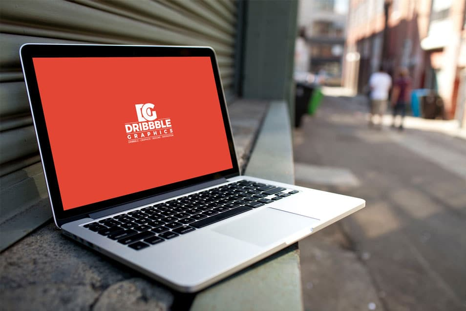 Free Laptop MockUp on City Street