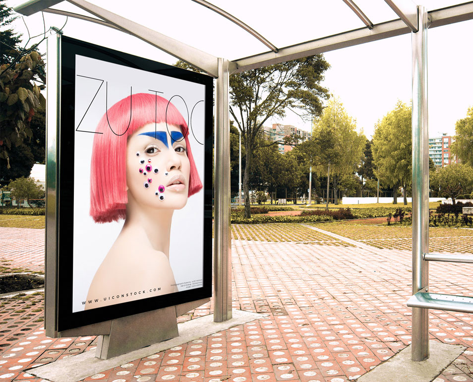 Free Outdoor Branding Bus Stop Billboard Mockup PSD