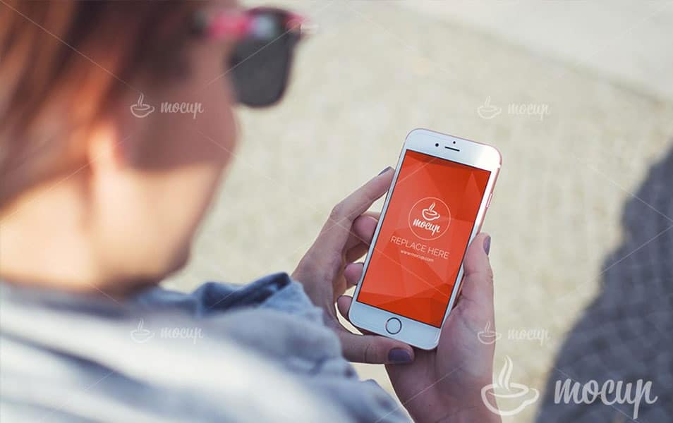 Free PSD Mockup iPhone 6 Pink Lady