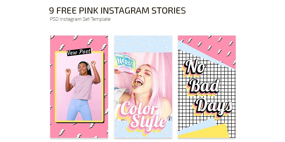 Free Pink Instagram Stories Templates PSD
